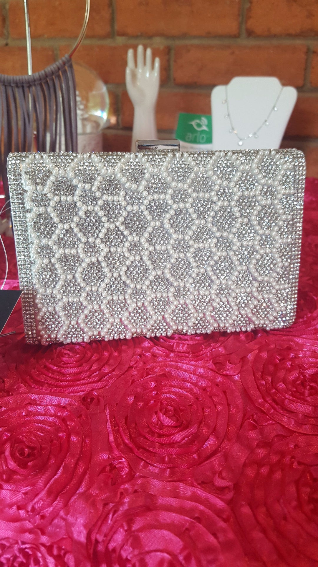 Pearl and Silver Honeycomb Purse