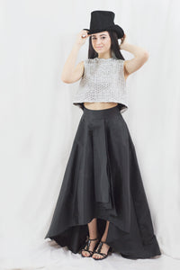 Black Maxi High Low Skirt Separate by Adrianna Papell, Size 4