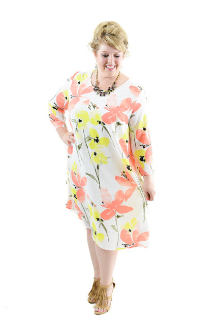 RETURNED TO LENDER ON 7/7/18: Multi-Color Long Sleeve Day Dress by Lane Bryant, Size 16