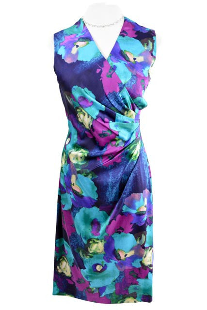 Multi-Color Sleeveless  V-Neck  Dress by Ralph Lauren, Size 4