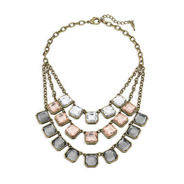 Retro Glam Square-Cut 3 Layer Necklace