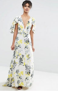 FOR SALE Floral Pattern Long Short Sleeve V-Neck Dress by ASOS, Size 8