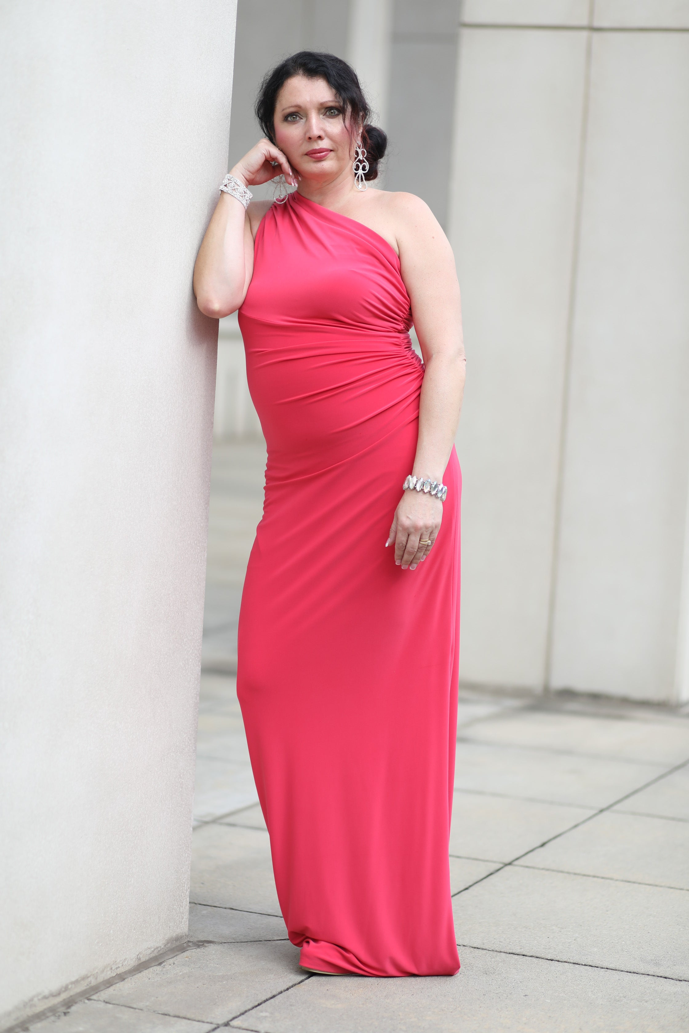Pink Maxi One Shoulder Asymmetrical Dress by Ralph Lauren, Size 8 FOR RENT $89