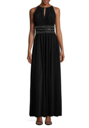 Black Tall R & M Richards Sleeveless Embellished Fitted Gown, Size 10