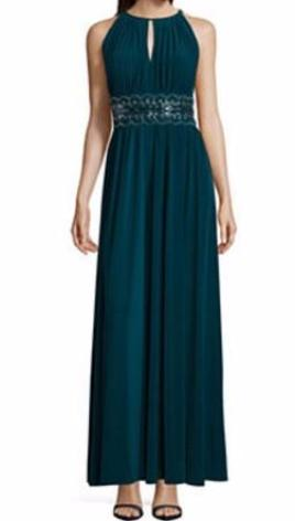 Sold Green Tall R & M Richards Sleeveless Embellished Fitted Gown, Size 16