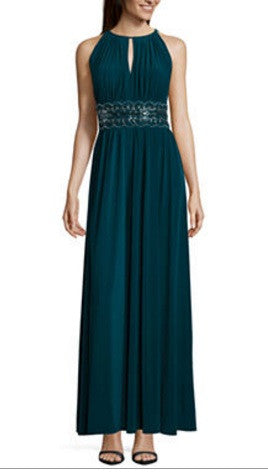 FOR SALE Green Tall R & M Richards Sleeveless Embellished Fitted Gown, Size 8