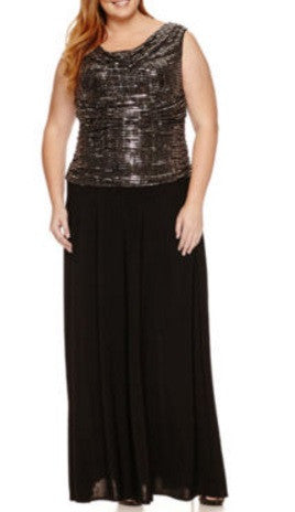 R & M Richards Sleeveless Sequin Evening Gown Plus, Size 14