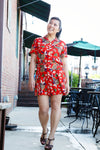 Red Short Sleeve Day Dress by Ralph Lauren, Size 8