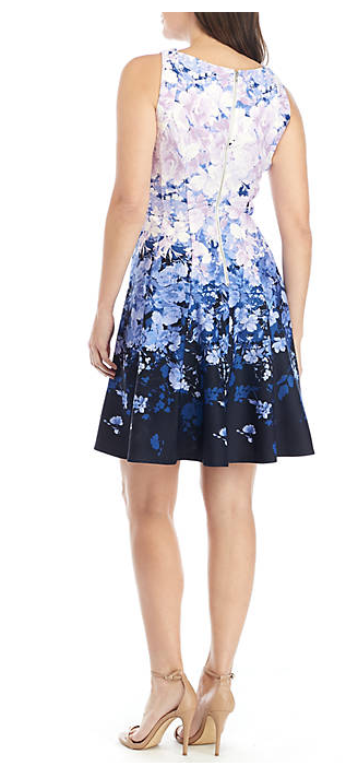Gabby Skye Sleeveless Cutout Floral Fit and Flare Dress Size 16