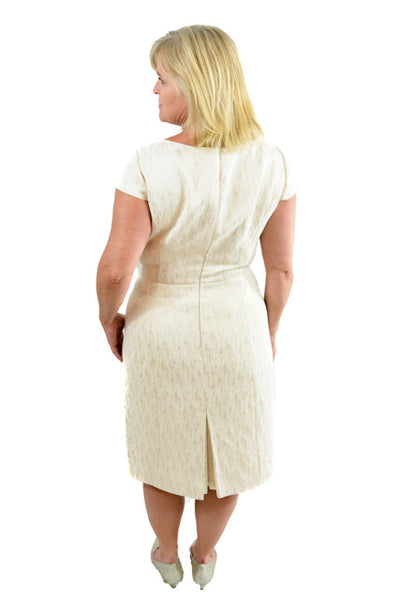 White Short Sleeve Formal Dress by Tahari, Size 10