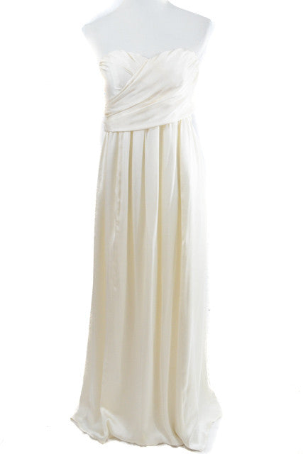 White Strapless Formal Dress by Unlabeled, Size 12