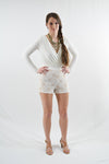 White Long Sleeve Day Dress by Want My Look, Size 2