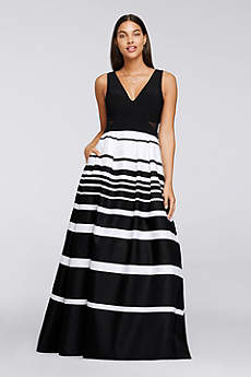 Striped Black and White Maxi Sleeveless V-Neck Dress by Xscape, Size 10