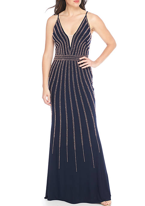 Xscape Beaded Jersey Gown Navy Size 14 Rent for $99