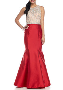 Xscape Bead and Mesh Bodice Mermaid Gown with Open Back, Size 0