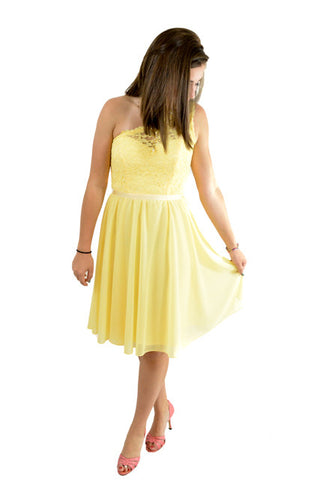 Yellow One Shoulder Semi-Formal Dress by David's Bridal, Size 2