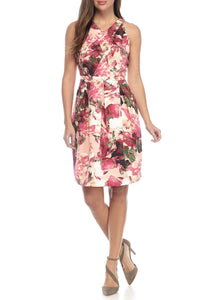 Floral Midi Sleeveless V-Neck Dress by Adrianna Papell, Size 8