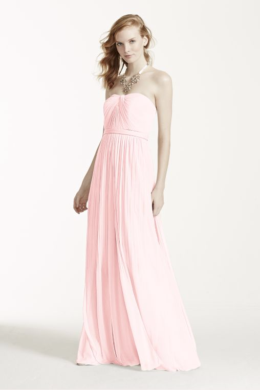 Pink Maxi Strapless Straight Across Dress by David's Bridal, Size 6