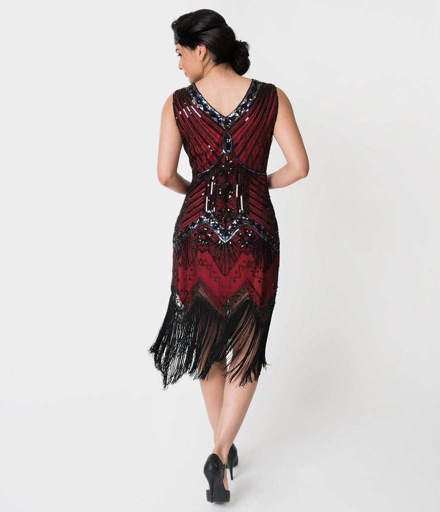 Unique Vintage 1920s Deco Red & Black Veronique Fringe Flapper Dress, size 14 RENT $59