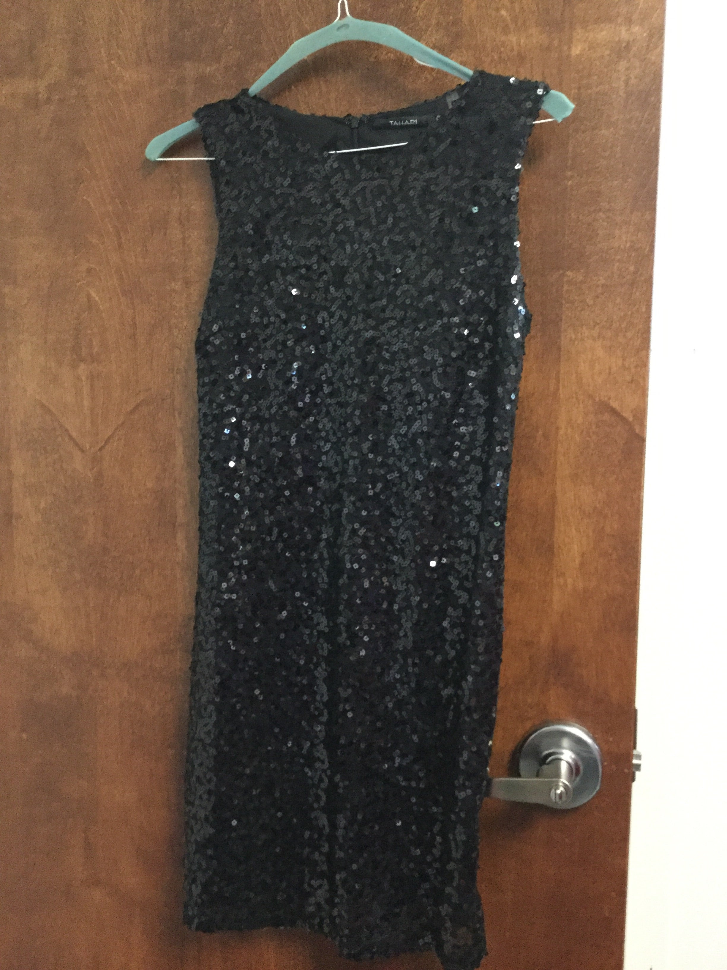 Black sequined dress Tahari 5/22/18 Elise Friedman size 4