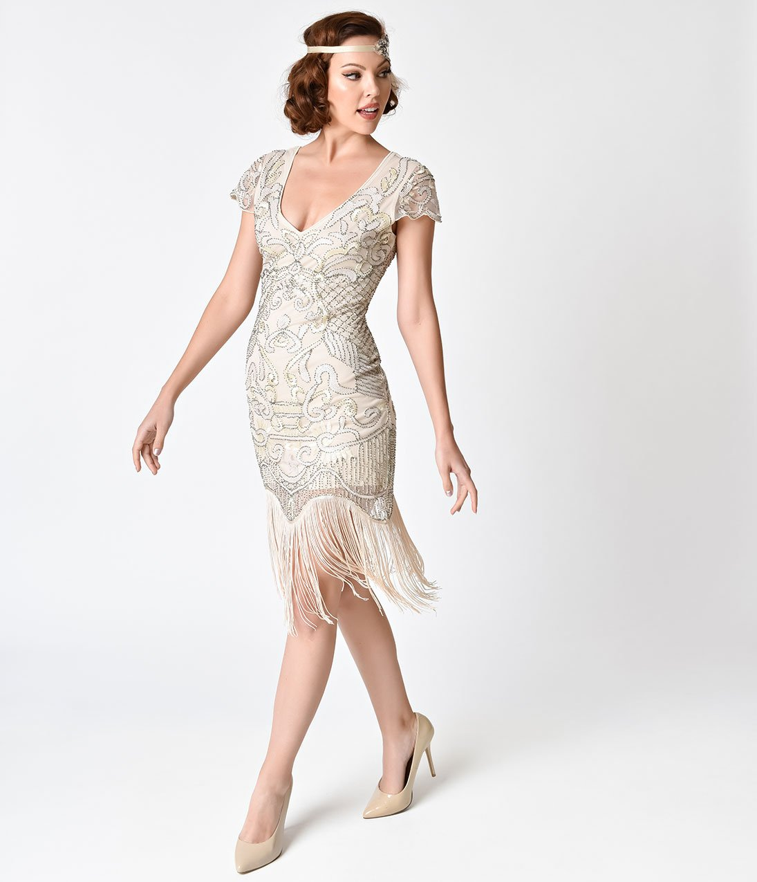 Unique Vintage 1920s Style champagne beaded fringe Aurore flapper dress, size 14, RENT $49