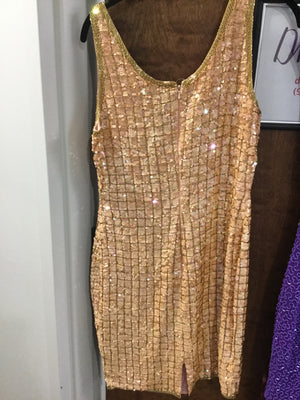 Gold sequinned mini AJ Bart size 6 Elise Friedman May 2018