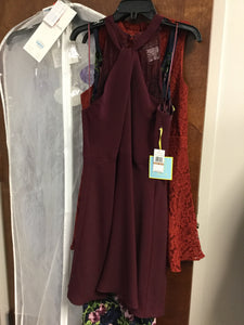 Maroon Mini Sleeveless Halter Dress by CeCe, Size 12
