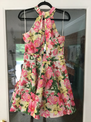 Floral Mini Sleeveless Halter Dress by Luxxel, Size 8