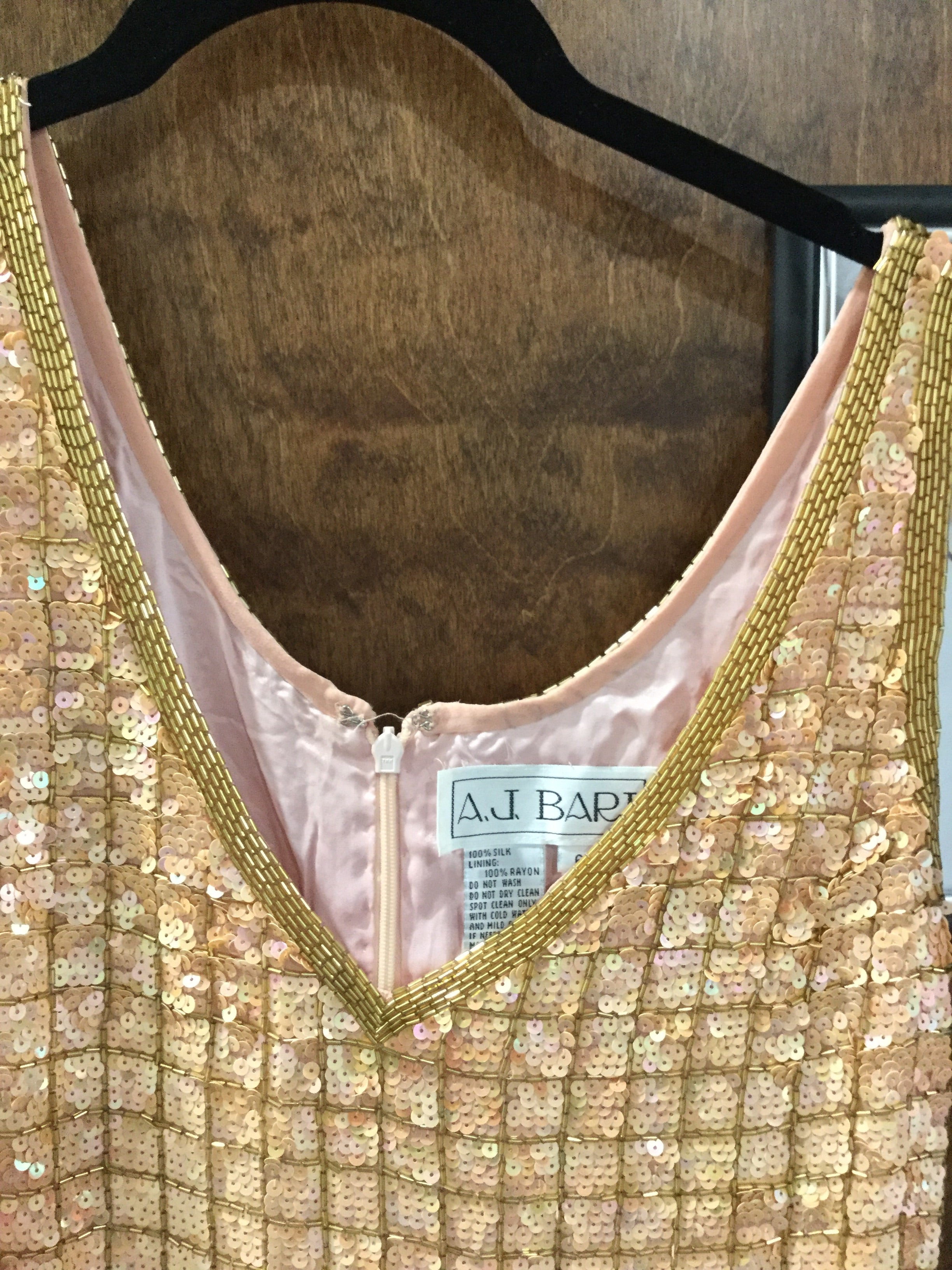 Gold sequinned mini AJ Bari size 6 Elise Friedman May 2018