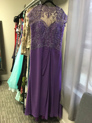 Purple Maxi Short Sleeve Queen Ann Dress by Montage, Size 16, 00303