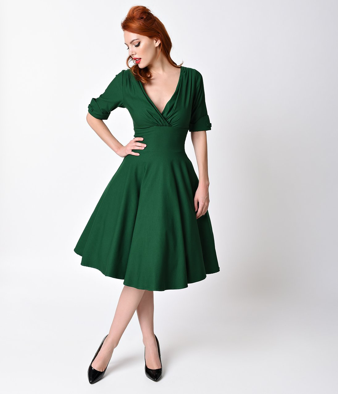 Unique Vintage 1950s Emerald Green Delores Swing Dress with Sleeves, size 14