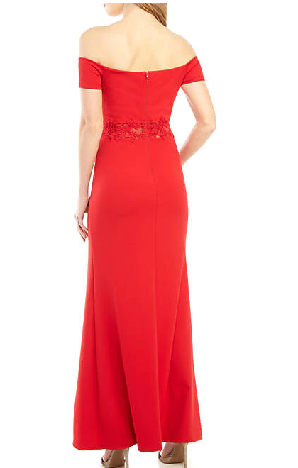sequin hearts Red Off the Shoulder Illusion Mesh Applique Waist Gown, Size 5