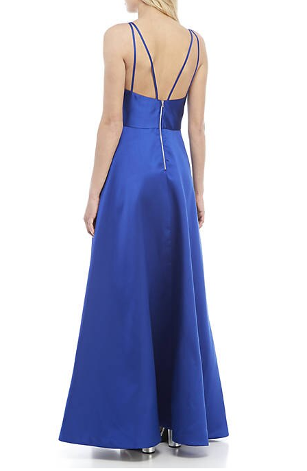 sequin hearts Strappy Royal Blue Satin Gown with Asymmetrical Split, Size 5