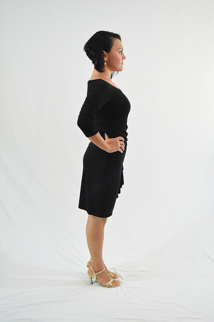 Black Three-Quarter Sleeves Semi-Formal Dress by White House Black Market, Size 4
