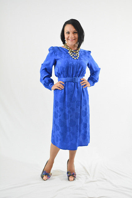 Blue Long Sleeve Semi-Formal Dress by Lorenzo, Size 6