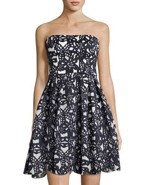 Maggy London Strapless Floral Fit and Flare Dress, Size 2