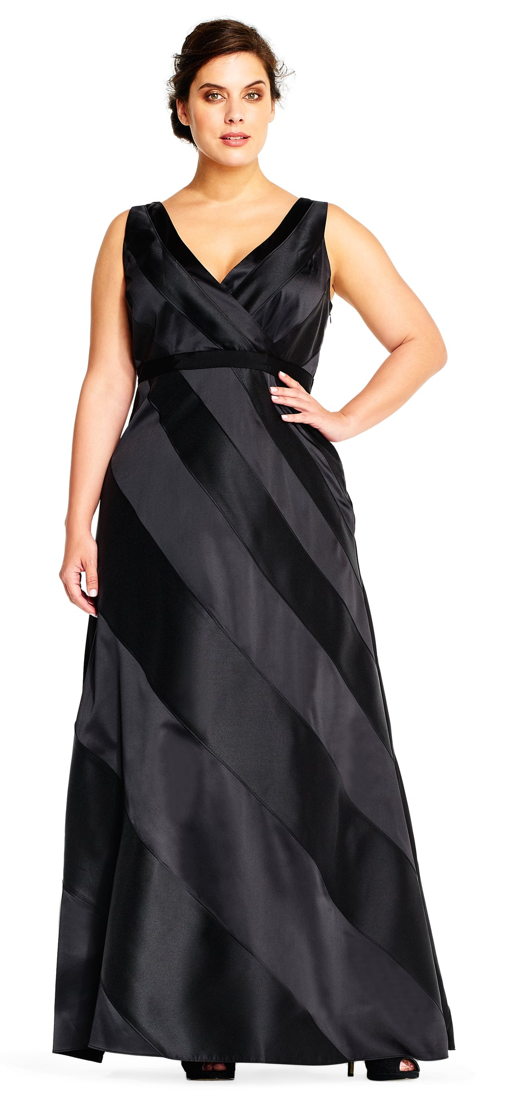 FOR SALE Black Maxi Sleeveless V-Neck Dress by Adrianna Papell, Size 14