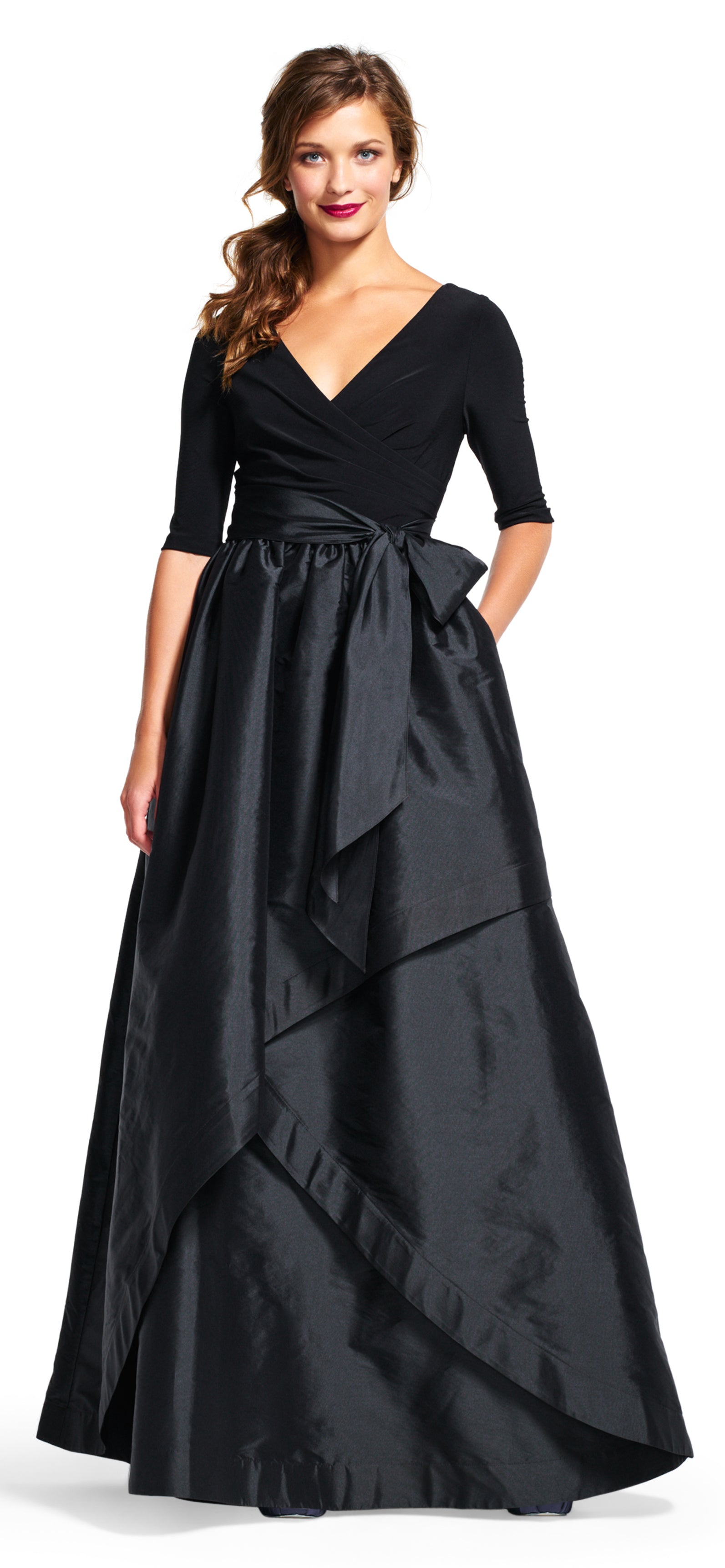 FOR SALE Black Maxi Three Quarter Sleeves V-Neck Dress by Adrianna Papell, Size 8