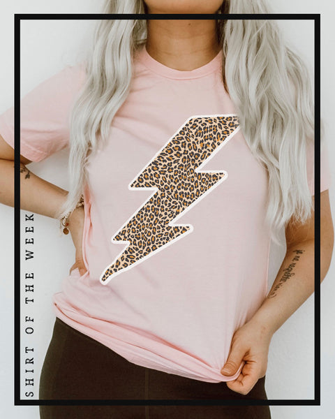 SOTW - Cheetah Lightning  Bolt (Pink) - Tee