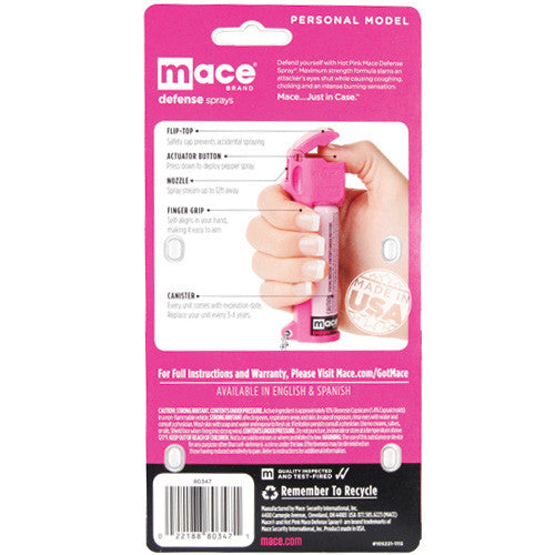 Mace Hot Pink Pepper Spray Personal - Crime Guardian