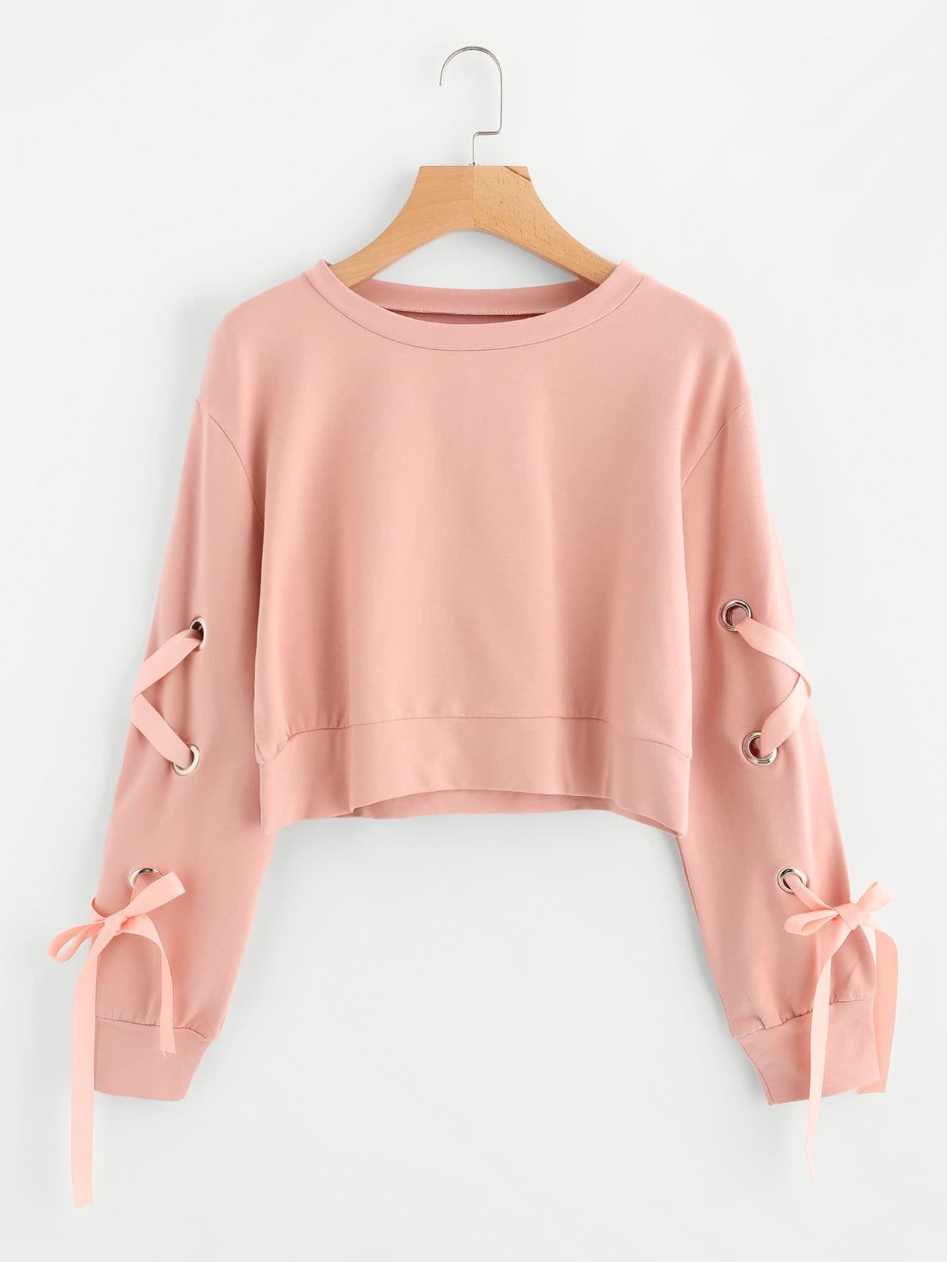 Pink Lace Up Sweatshirt