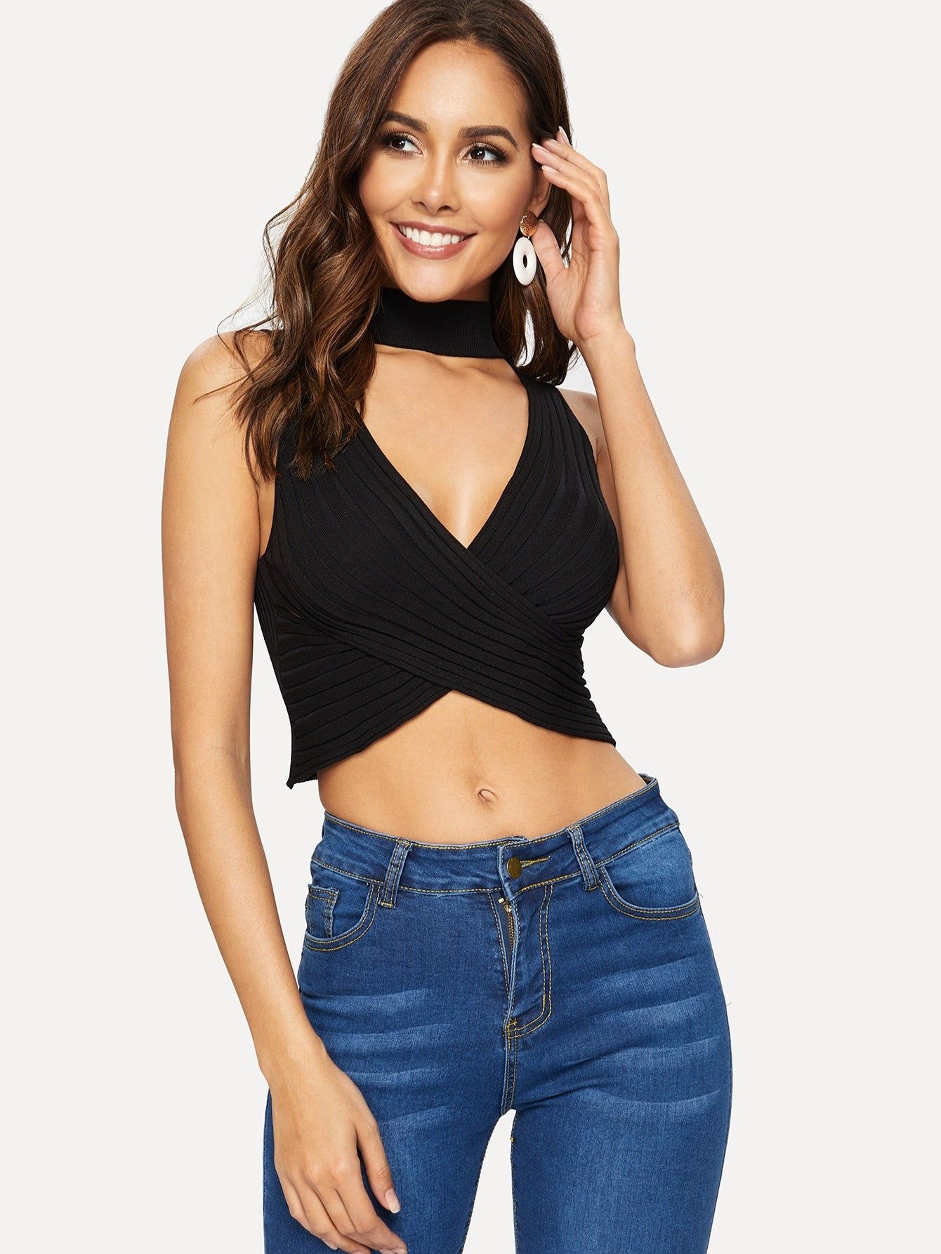 Wrap Choker Crop