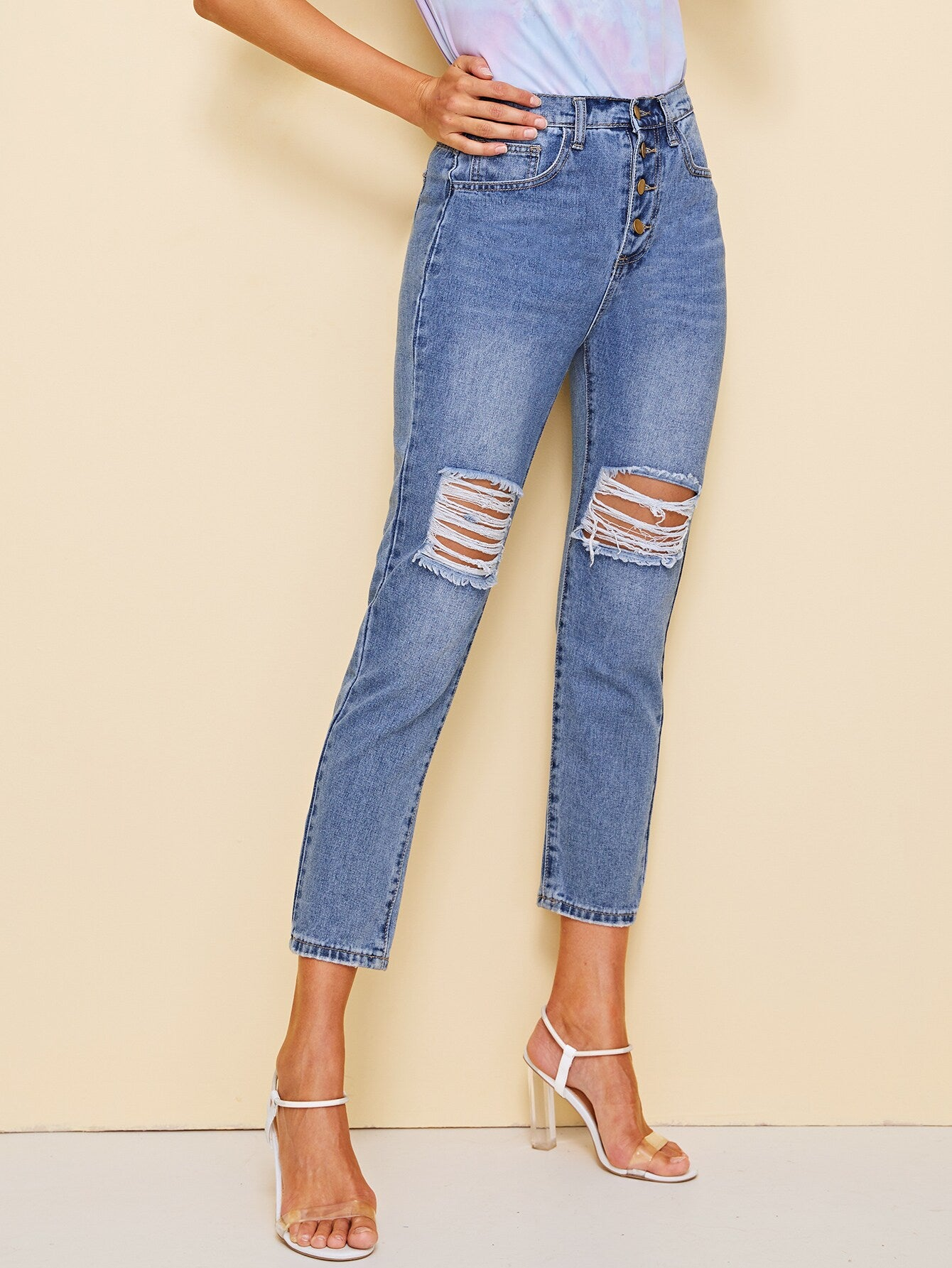 Button Fly Ripped Cropped Jeans