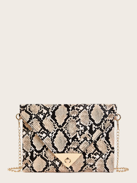 Snakeskin Print Chain Bag