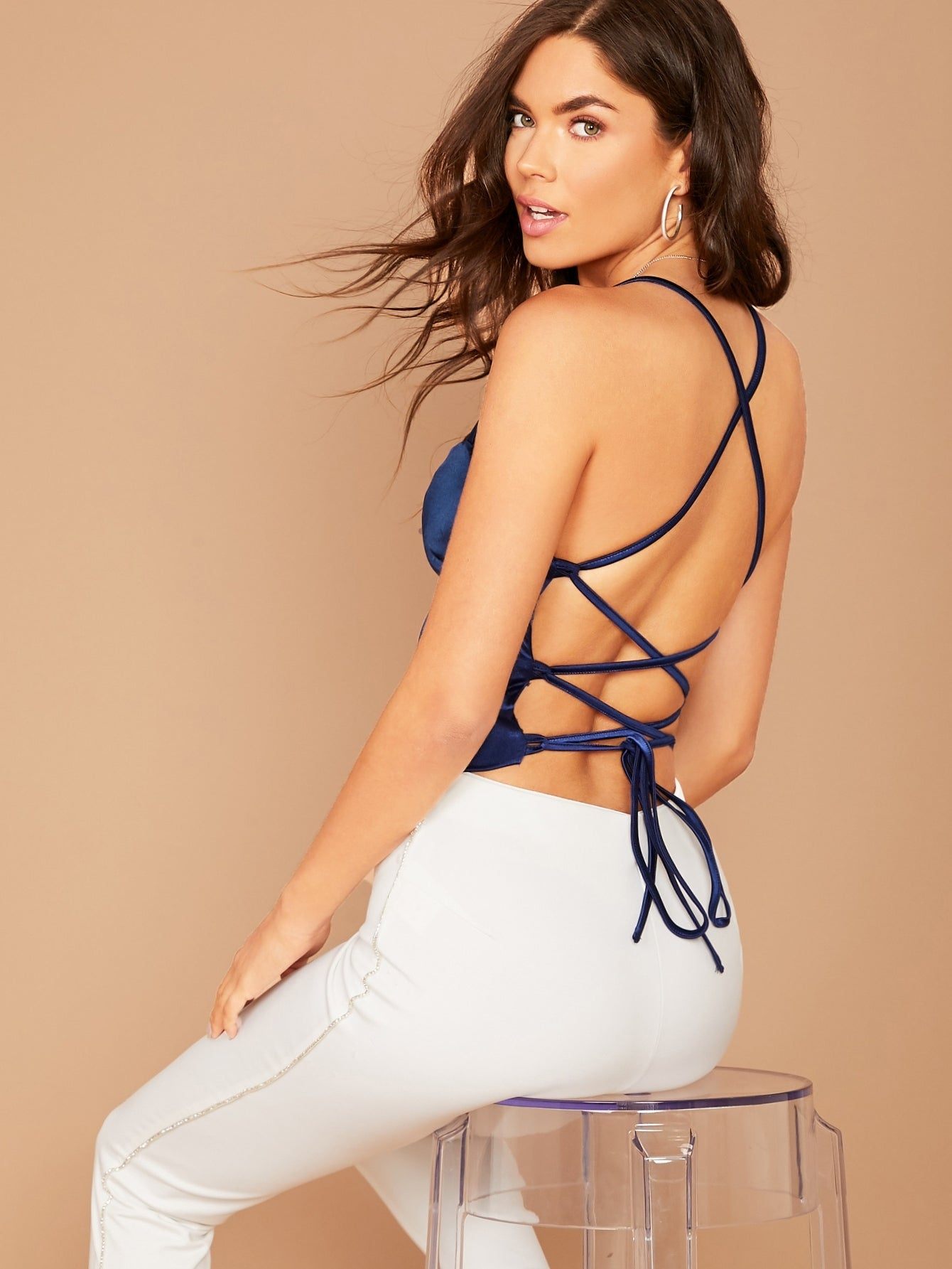 Backless Satin Crop