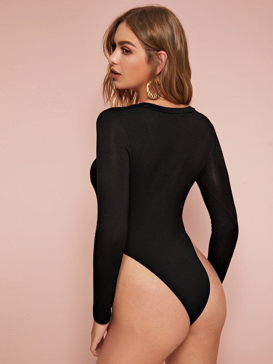 High Leg Solid Bodysuit