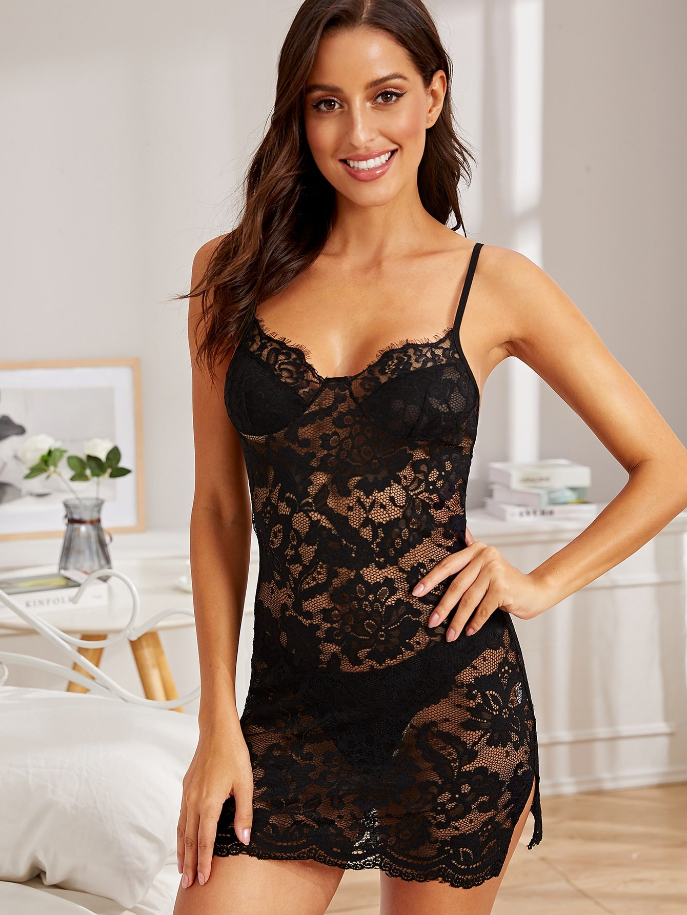 Black Lace Slip