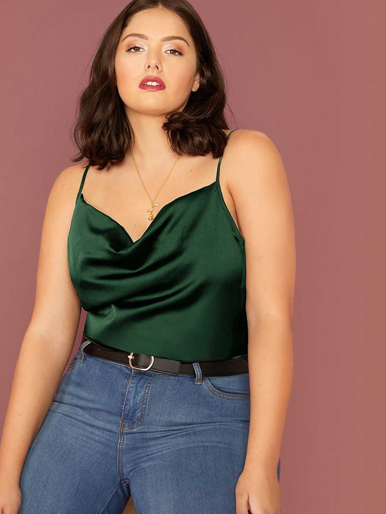 Draped Neck Satin Cami Top