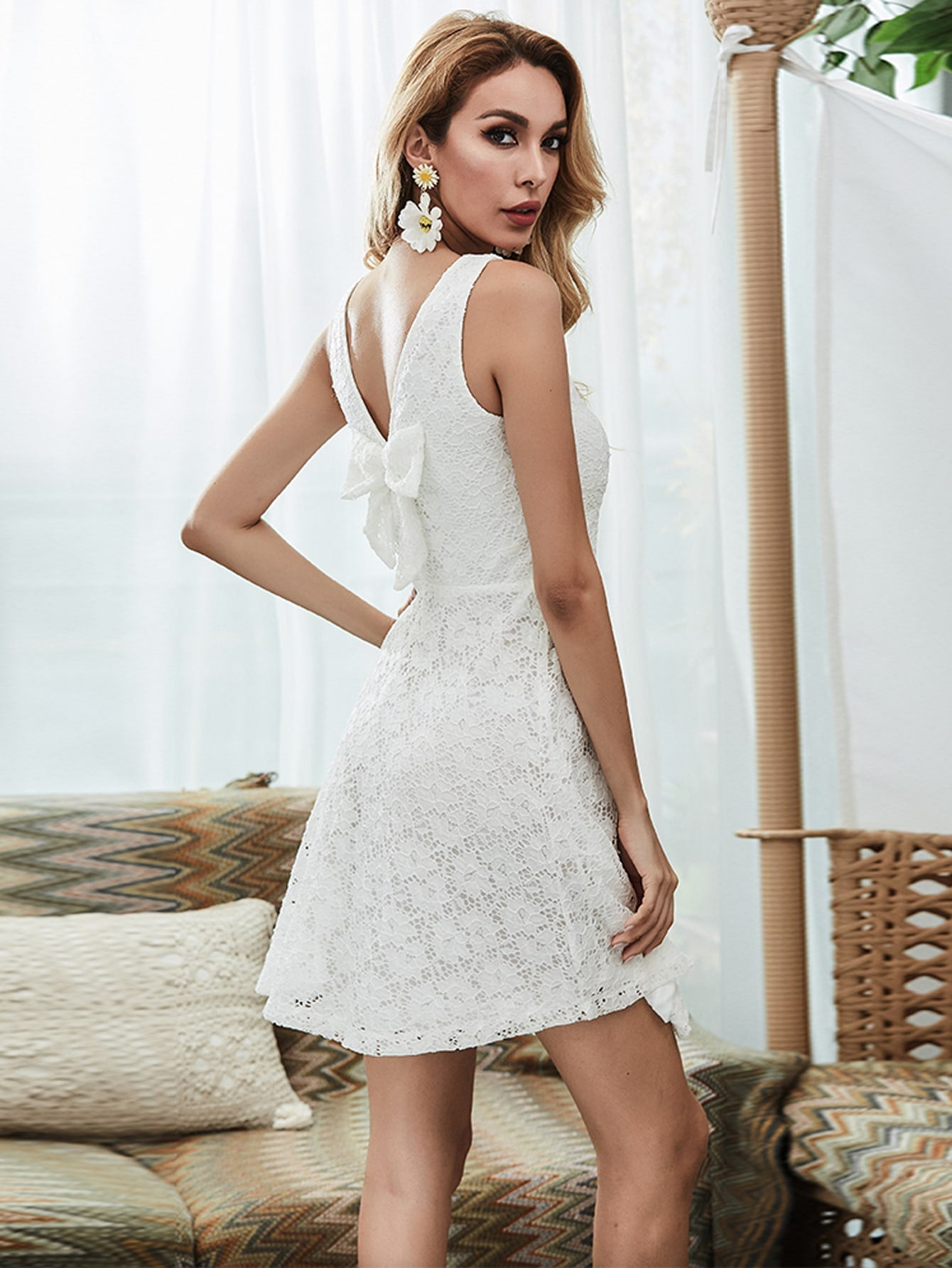 White Bow Back Dress