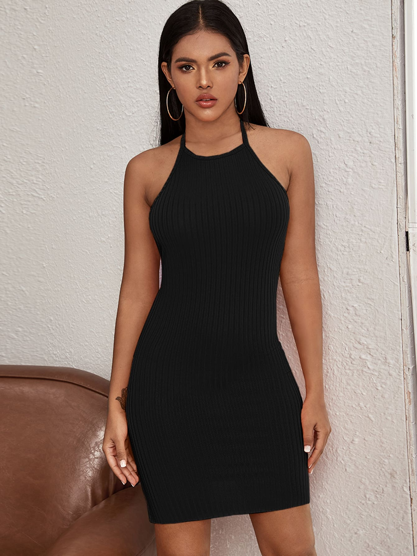 Ribbed Halter Dress